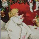 Antique Christmas Postcard Santa Claus Peeking around the Corner Child Awake