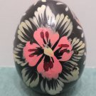 Wooden Easter Egg Hand Painted Black with Pink Flowers