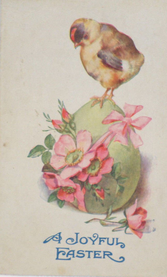 Antique Easter Postcard Chick Egg Unposted Divided