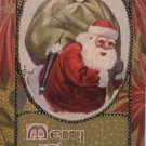 Antique Christmas Postcard Santa Claus With a Pretty Woman in his bag of toys