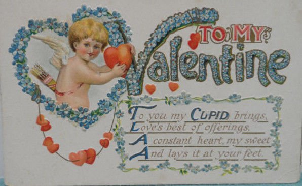 Antique Valentine Postcard Cupid Embossed Divided and Unposted