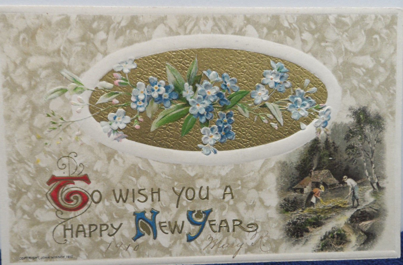 Antique1910 New Year Postcard Country Blue Flowers by Winsch Germany Posted