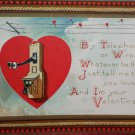 Antique Valentine Postcard Heart with Phone Divided and Unposted