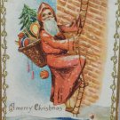 Antique Christmas Postcard Santa Claus Climbing up Side of House Embossed Posted