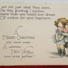 Christmas Postcard Little Boy and Girl Ruth Welch Siver Printed in the USA