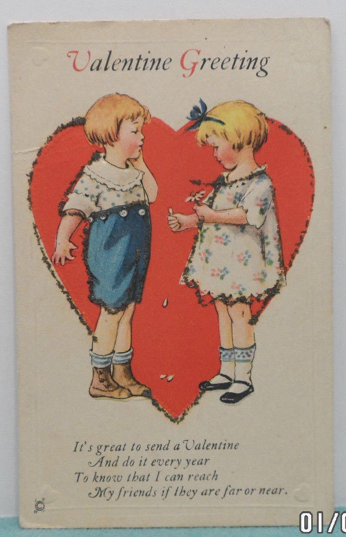 Antique Valentine Postcard of Girl and Boy Embossed Divided and Unposted