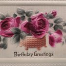 Antique Birthday Postcard Red Roses Heavily Embossed  Unposted Germany