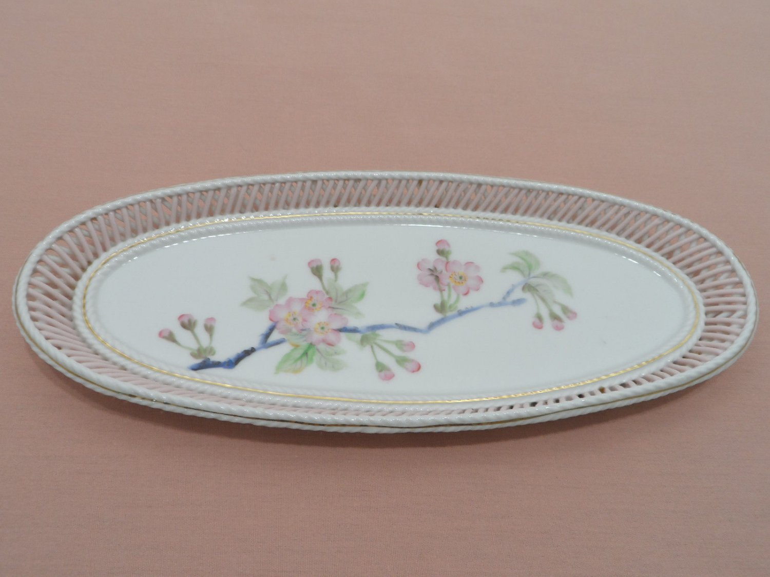 Porcelain Vanity Dresser Tray with Lattice Sides Pink and white Floral