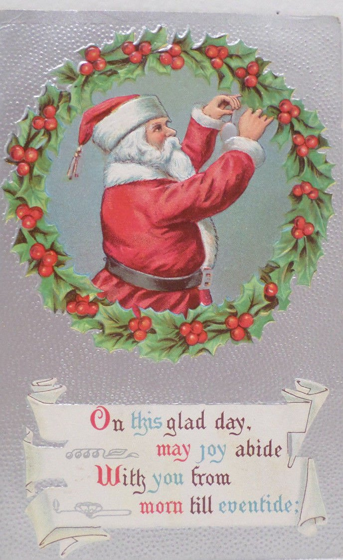 Antique 1909 Christmas Postcard Santa Claus Embossed Posted Divided