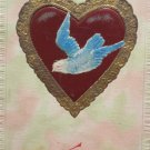 Antique Valentine Postcard Dove in Heart Divided and Unposted