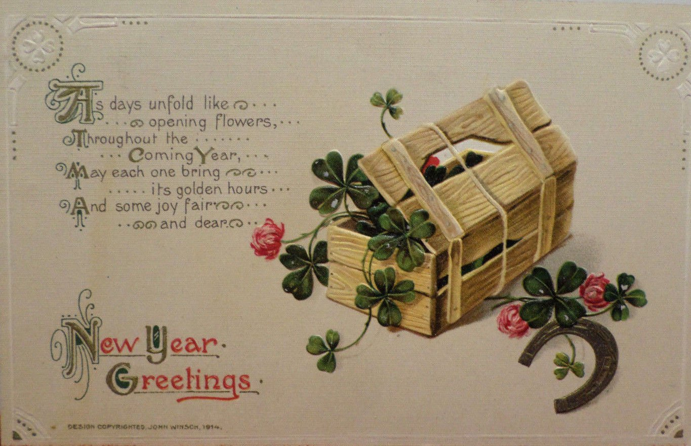 Antique 1914 New Year Postcard 4 Leaf Clover by Winsch Posted Embossed Dividded