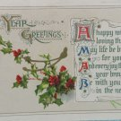 Antique 1912 New Year Postcard Green Holly by Winsch Germany Divided Posted