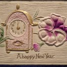 Antique New Year Postcard Embossed Divided Posted