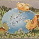 1911 Easter Postcard Rabbit Chicks Egg Embossed Posted Divided