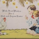 1930 Easter Postcard Children Hen Eggs Posted Divided