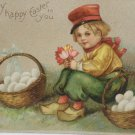 Antique Easter Postcard Little Boy and Eggs Embossed Unposted Divided