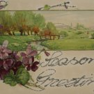 Christmas postcard Purple Floral and Scenic Unposted Undivided