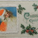 Antique Christmas Postcard Santa Claus John Winsch Embossed Divided Posted