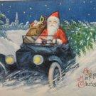Christmas Postcard Santa Claus Driving a Blue Car made in the USA