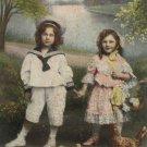Easter Postcard Children Hens Chicks Eggs Glossy Unposted