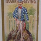 Antique Thanksgiving postcard Uncle Sam with Rival Turkeys Posted Divided
