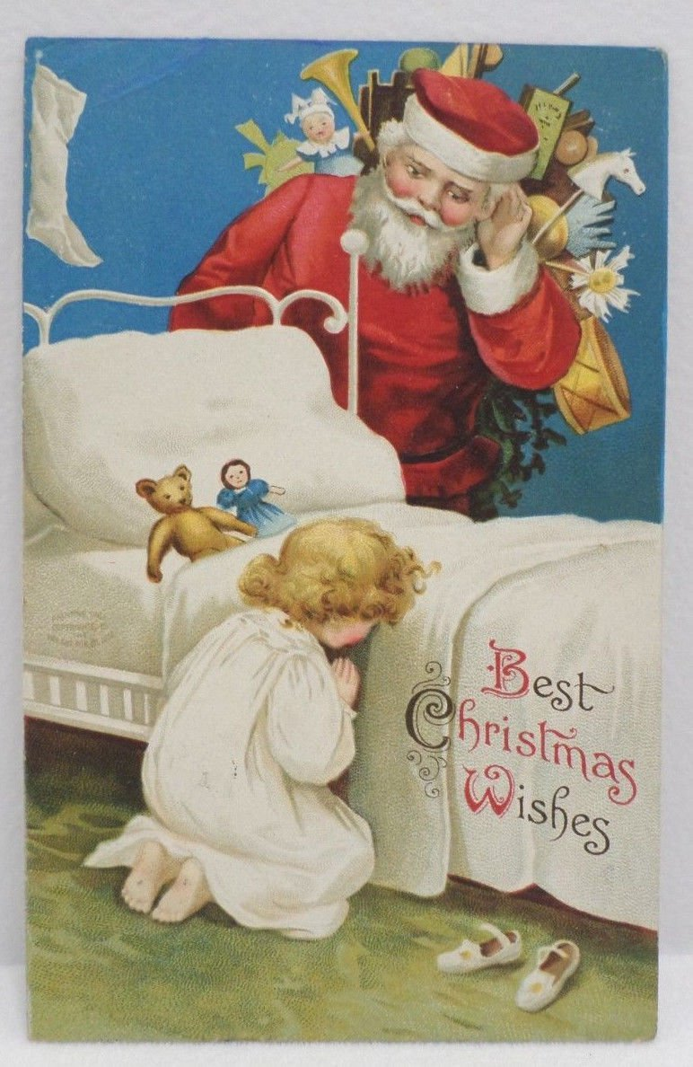 Antique 1908 Christmas Postcard Santa Claus Listens to a Childs Prayers Embossed