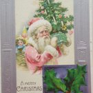Antique Christmas Postcard Santa Claus Holly Berries Embossed Unposted