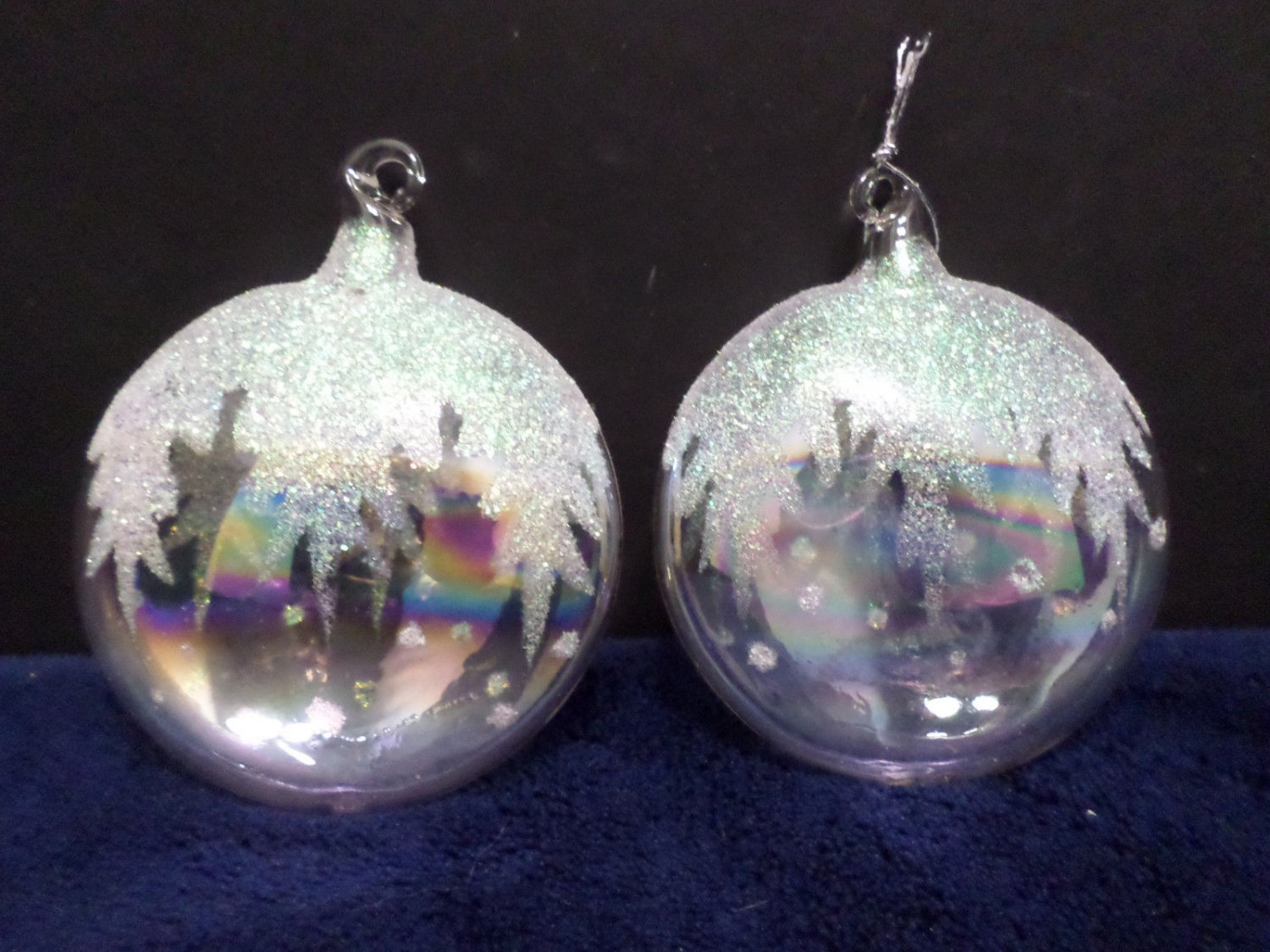 Two Glass Christmas Tree Ornaments AB Coating