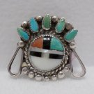 Brooch Pin Zuni Sterling Silver Inlaid Turquoise Coral MOP Onyx 3.5 Grams