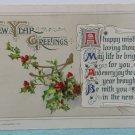 Antique 1912 New Year Postcard Holly Berries by John Winsch Germany Posted