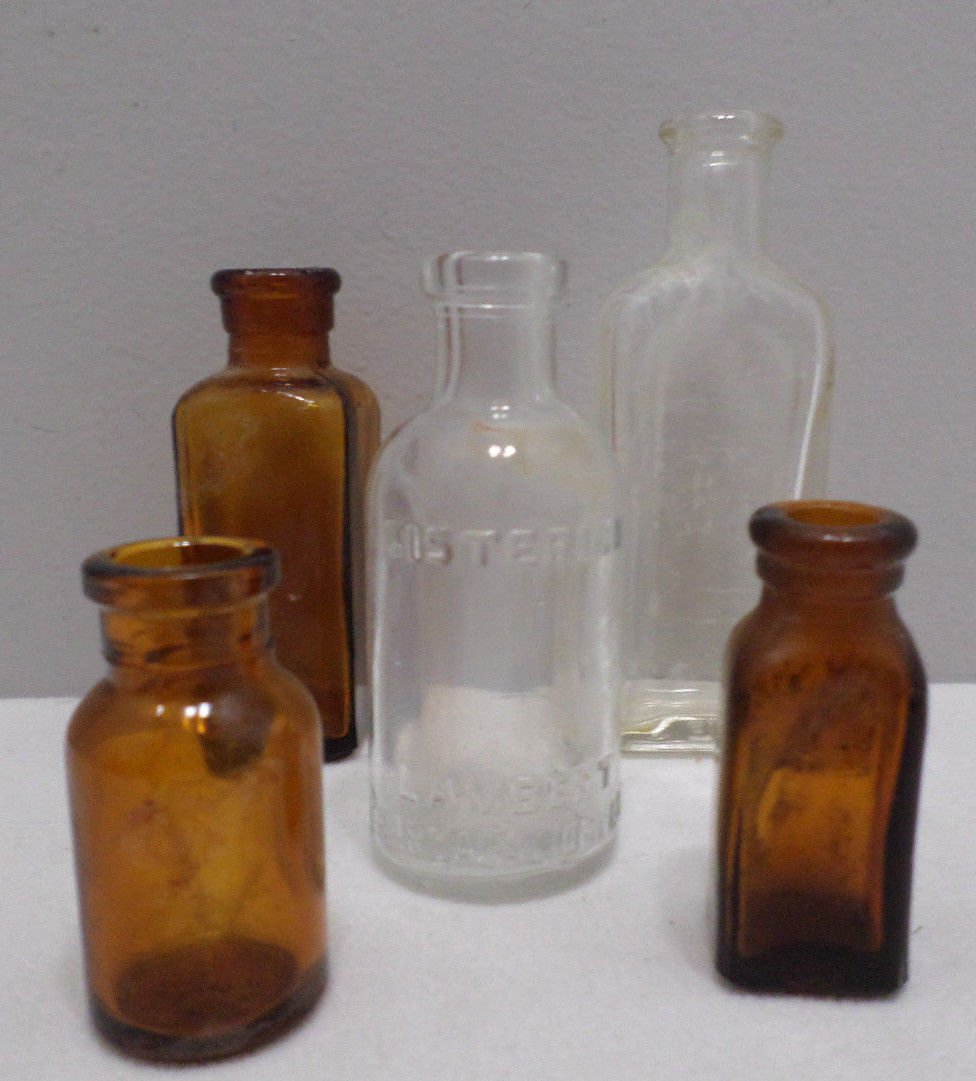 5 Antique cork Top Medicine Bottles Clear Glass and Brown Glass