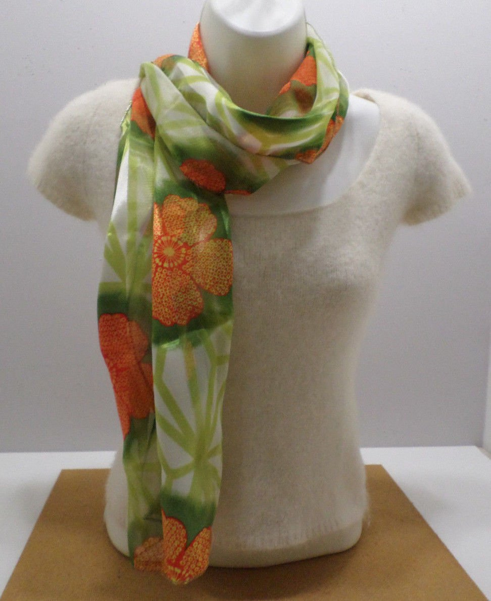 Womens Scarf Polyester Green with Orange Flowers made in Korea