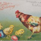 Antique Easter Postcard Baby Chicks Hen Eggs Embossed Posted Divided