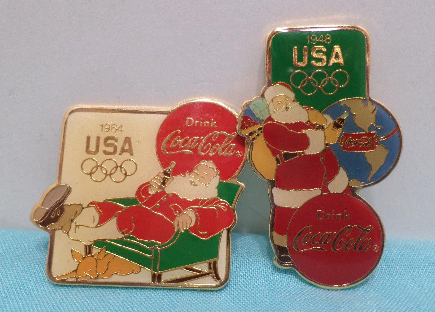 1984 Los Angeles Olympics Collector Pins Coca Cola and Santa Claus
