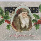 Antique Christmas Postcard Santa Claus Embossed Posted Divided Germany