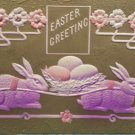 Antique Easter Postcard Rabbits Nest Eggs Embossed Unposted Divided
