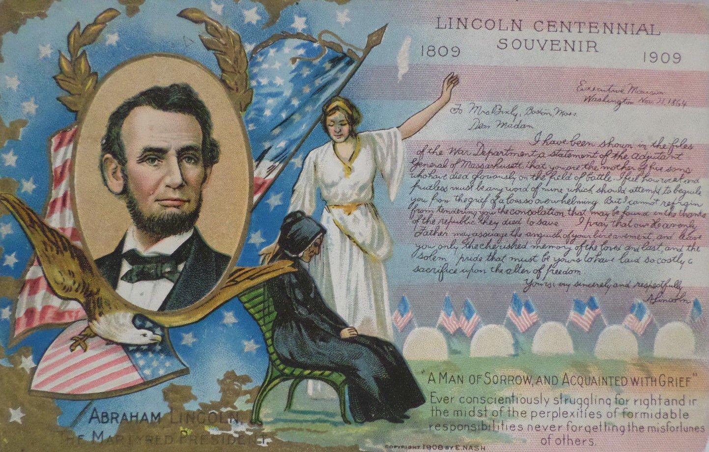 Antique Postcard President Abraham Lincoln Centennial Souvenir 1809 - 1909