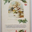 Antique Christmas Postcard  House with Snow Meeker Unposted Embossed USA