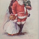 Antique Christmas Postcard Santa Claus Holding a Little Girl and Bag of Toys