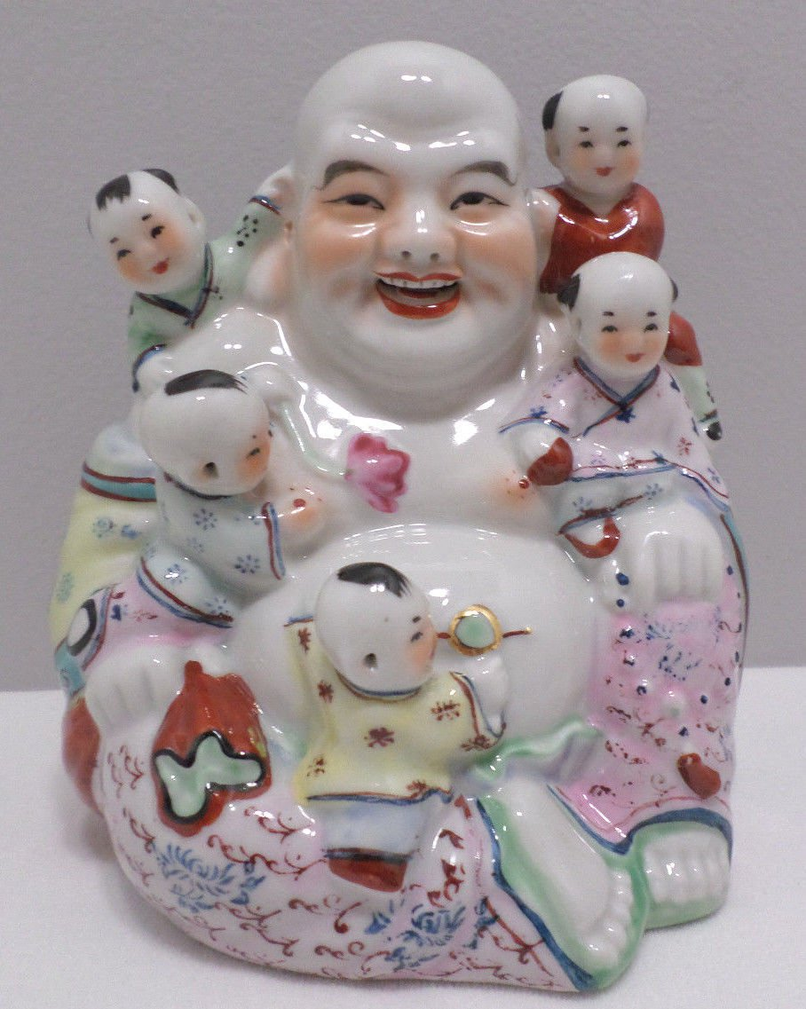 Laughing Buddha with Five Children Fine Porcelain Chinese