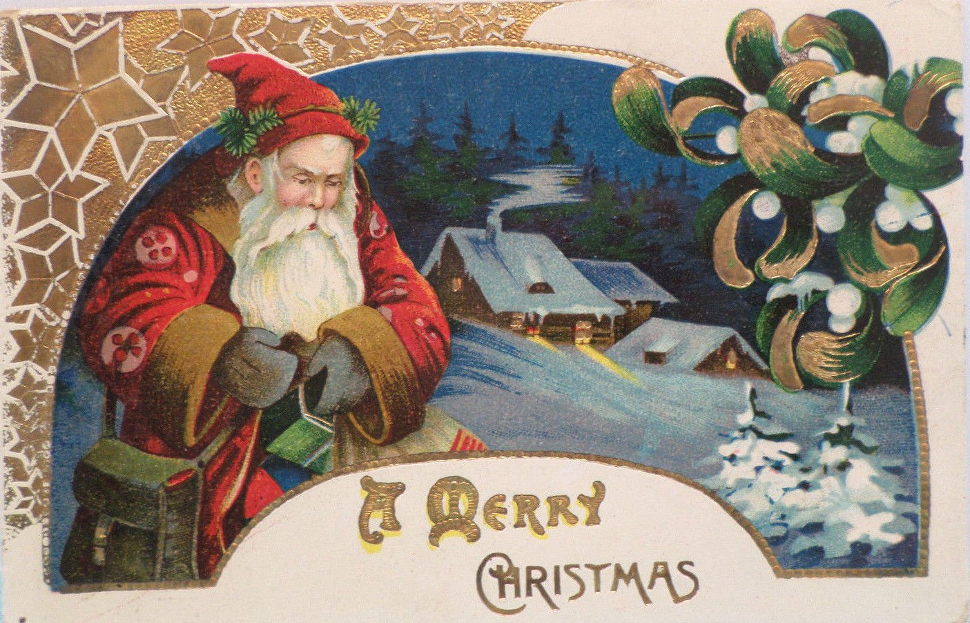 Antique 1913 Christmas Postcard  Santa Claus Glossy Posted Divided Embossed