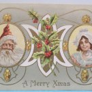 Antique Christmas Postcard Santa Claus Meeker Unposted divided made in USA