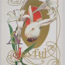 Antique Easter Postcard Rabbit Lillies Unposted Divided Embossed