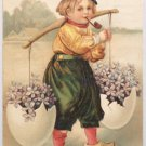Antique Easter Postcard Boy Smoking a Pipe Embossed Posted Divided