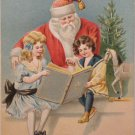 Antique Christmas Postcard Santa Claus Reading to Children Divided Unposted