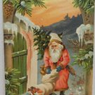 Antique Christmas Postcard Santa Claus Embossed Divided Posted