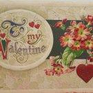 Antique Valentines Postcard Red Heart Flowers John Winsch Germany 1910