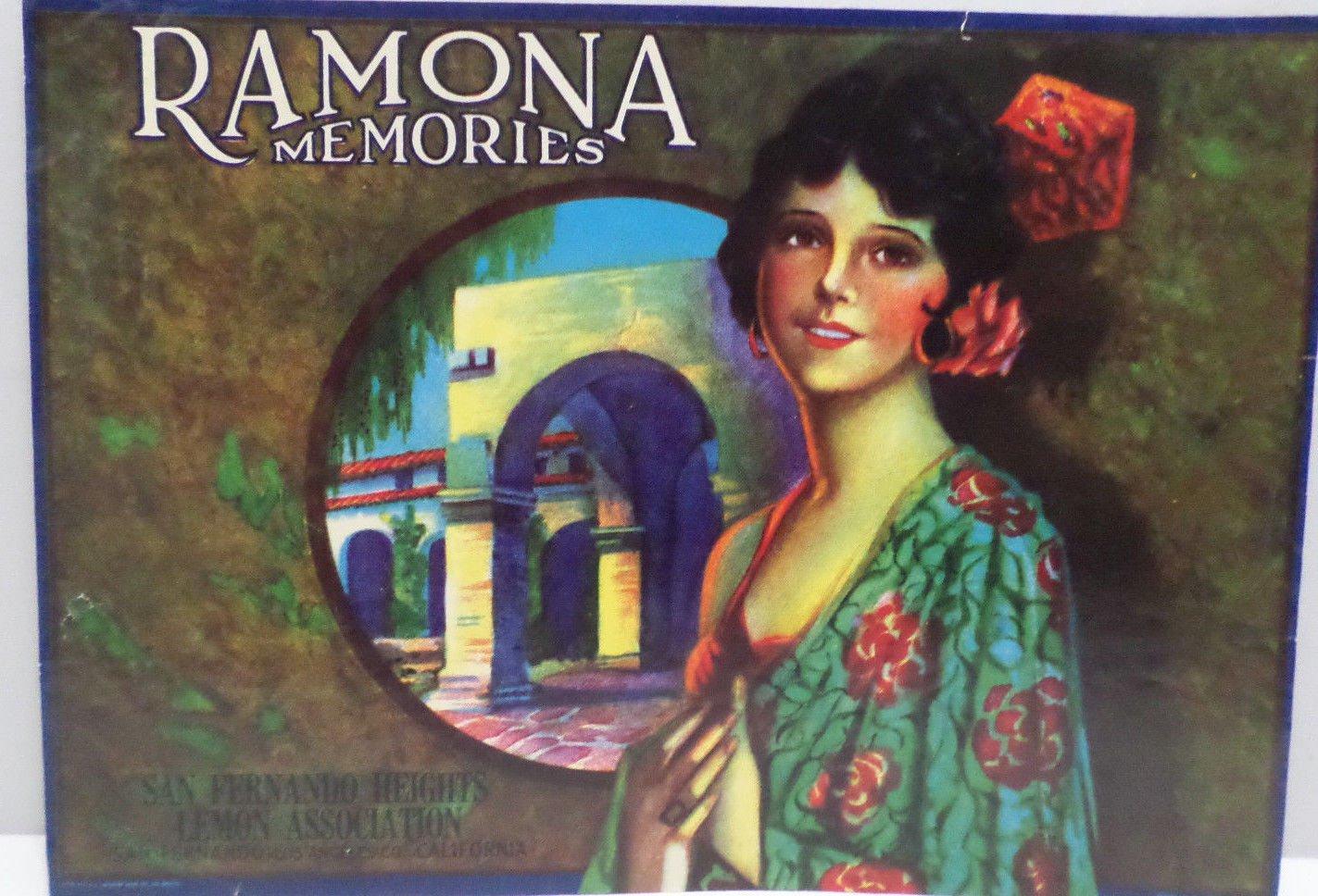 Vintage Crate Label Ramona Memories San Fernando Heights Lemon Assoc. Original