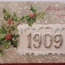 Antique 1909 New Year Postcard Holly Germany Posted Divided Embossed