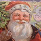Christmas Postcard Santa Claus Has a White and Tan Mitten Embossed Unposted